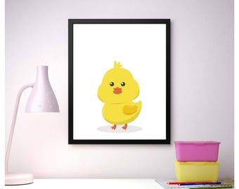 Chicken Nursary digital print, Cute kids print, Animals print, Instant download print, Ready to print, Funny animals, Chick image