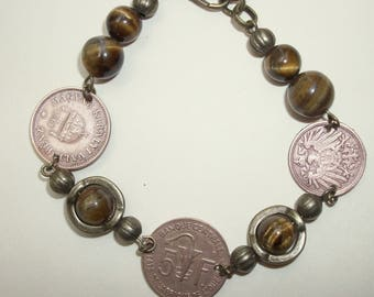 Three coin and Tiger Eye Bracelet