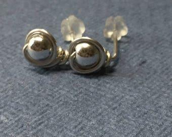 Handmade sterling sillver ball stud earrings