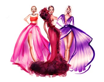 Custom Fashion Illustration Fashion Sketch Portrait Illustration Fashion Drawing