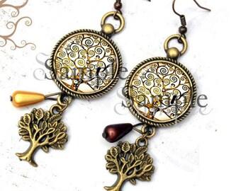 Earrings tree of life Klimt reproduction beige gift bird