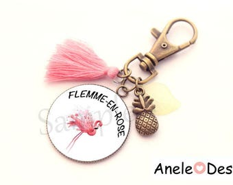Keyring Flamingo too lazy in pink - TROPICAL exotic cabochon gift idea
