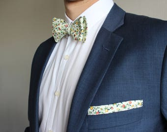 Wildflower adjustable self-tie floral bowtie and pocket square