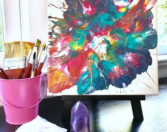 Original Abstract Art: Flower Bomb 10x10in Acrylic Painting on Canvas
