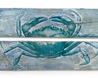 Blue Crab on Pallet Wood