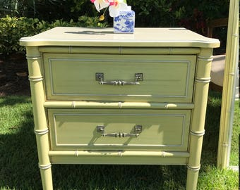 SUMMER SALE!! Vintage Henry Link Faux Bamboo Nightstand/ Hollywood Regency/ Chinoiserie Chic