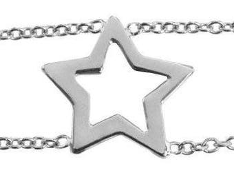 Sterling Silver Open Star Bracelet
