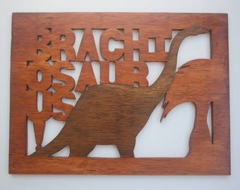 Handcrafted Dinosaur Wall Art for Children -Brachiosaurus - Scroll Saw Art