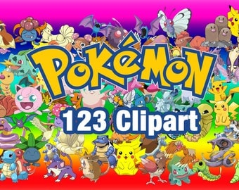 123 Pokemon ClipArt - Digital , PNG, image, picture,  oil painting, drawing,llustration, art , birthday,handicraft 300 DPI, 300 PPI