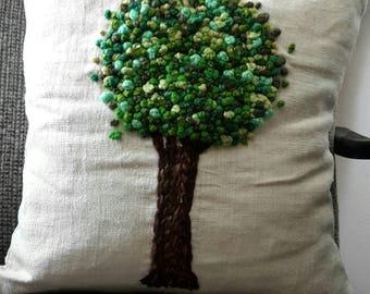Hand-printed cushion tree