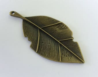 Antiqued Bronze Leaf Charms 80 x 35mm