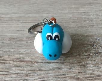 Blue yoshi keychain