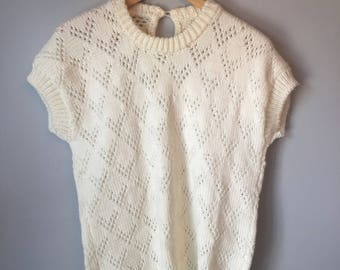 Vintage Women's White Short Sleeve Sweater 80's 90's
