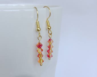Original design handmade bright orange and yellow Swarovski earrings