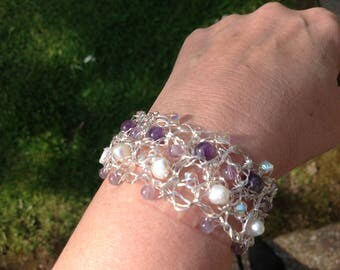 Sterling silver crocheted bracelet