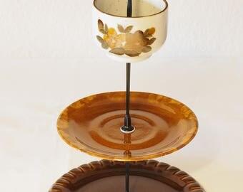 Etagere 3-piece set Brown vintage style