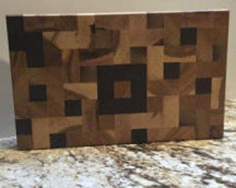 SQUARE BLOCK  Hickory + Walnut
