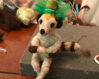 King Lemur, Hand Crafted Needle Felted Figurine