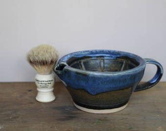 Black, Brass and Blue Wet Shaving Scuttle - UK