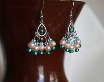 Silver and Teal Pearl Earrings