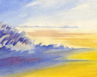 Watercolor North Sea Föhr Beach dunes