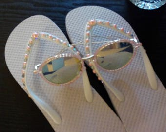 Blinged Out Flip Flops, Size 7-8 with Glasses