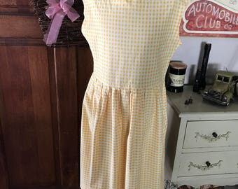 Yellow and white gingham print dress