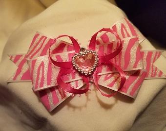 Pink zebra print MadMells Hair Bow
