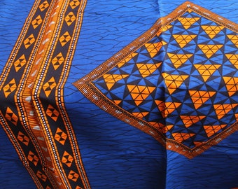 Blue and orange african fabric / Broken plate fabric / African fabric by the yard / African fabric wholesale / African fabrics sale