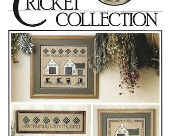 """THE CRICKET COLLECTION - """"Humility Sampler No. 18, Vintage Cross Stitch Pattern with Amish, Quilts, Houses, Buggy by Vicki Hastings - Used"""