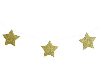 Gold Star Glitter Garland