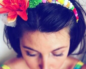 Green Festival Wedding Flower & Pompom Headband