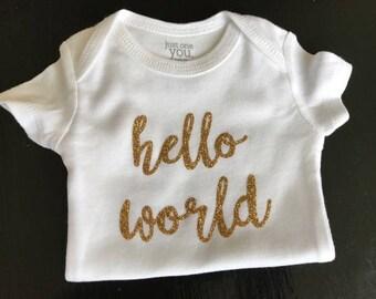 Hello World Gold Glitter Onsie