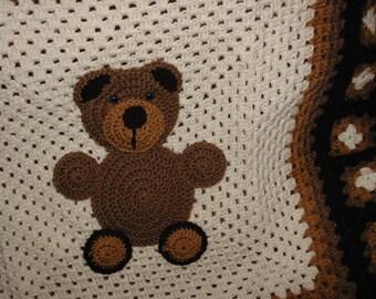 Crocheted Teddy Bear Baby Blanket/Boy or Girl