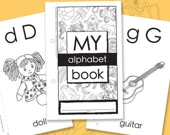 My Alphabet Book - Alphabet learning, colouring activity that can be bound into a 5.5x8.5 in (final size) booklet