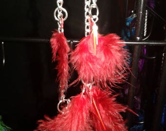 Red Feather Earrings