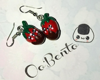 Kawaii Chocolate Strawberry Earrings