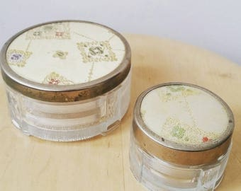 Set of two Vintage Glass and tapestry vanity containers. Antoine Glass container. Glass jewellery organizer. 1940's decor.