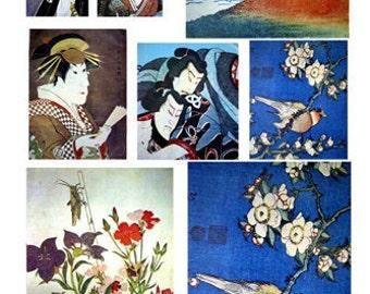 iLARTS JAPANESE KABUKI WARRIOR Woman Mountain Bird Collage Sheet DiGiTaL DoWNLOAD VinTAGe Images Scrapbooking