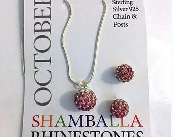 925 Sterling Silver and Topaz Shamballa Rhinestone Pink October Birthstone