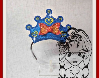 Apple Snow & 3d BOW PRiNCESS CRoWN ~ Inspired Character ITH In the Hoop Headband ~ INSTaNT Machine Embroidery Download Design by Carrie