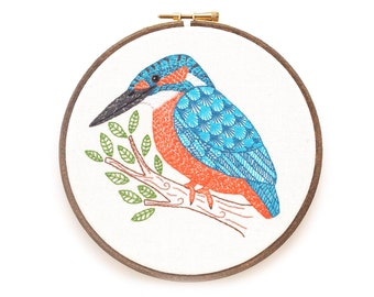 Kingfisher Hand Embroidery, Bird Embroidery Art Framed in a Hoop