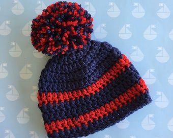 Pom Pom Baby Hat, 0-3 month sizes , Navy Blue and Red  baby beanie,   infant girl   or boy hat, Photo Prop,