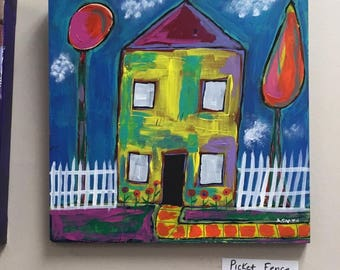 Picket Fence- Mixed Media House Painting