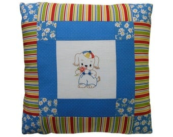 """PILLOW SALE—Vintage-Inspired Nursery Pillow, Embroidered Dog Motif, 18"""" x 18"""""""
