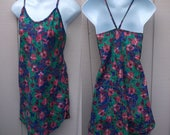 Vintage Jewel Tone Floral Mini Dress Chemise Nightgown / slip nightie // Size Med