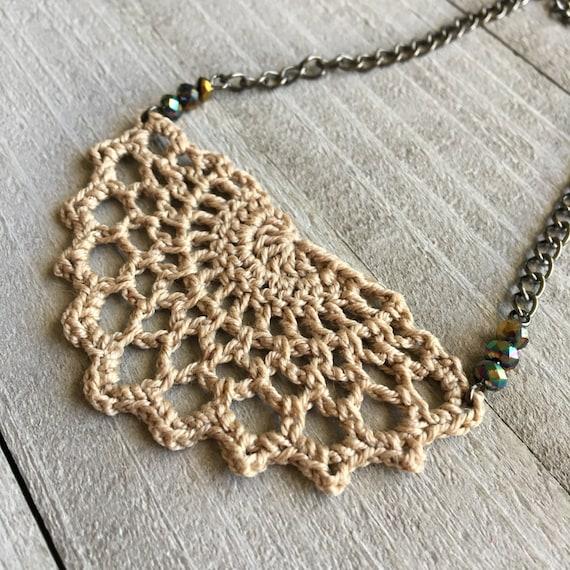 "Crochet Necklace, Boho Chic, Fashion Jewelry, Statement Necklace, Crocheted Necklace, Gift for Her, 19"" Chain + Crochet Linen Brown"