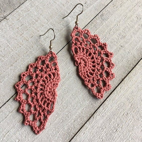 Boho Chic Crochet Earrings Bohemian Gypsy Hippie Jewelry Gift for Her Festival Fashion Vintage Lace Filigree -Handmade Lace in Blush Pink