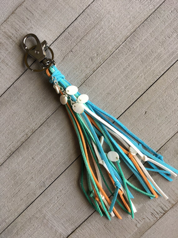Boho Chic Beach Inspired Cute Unique Tassel Keychain Gift for Her/Purse Bag Charm/Light Blue Orange Green White + Shells(KC229)
