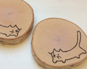 Set of 2 Tea or Coffee Mug Coasters Birch Hand Wood Burned for Cat Lover